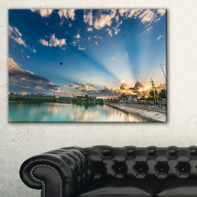 Designart Moving Clouds Over Lake Landscape PhotoCanvas Art Print - 3 Panels