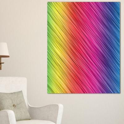 Designart Multi Color Neon Glowing Lines AbstractArt - 3 Panels