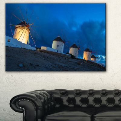 Designart Mykonos Windmills At Blue Hour LandscapePhotography Canvas Print - 3 Panels
