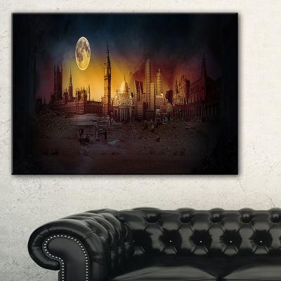 Designart Mysterious Apocalyptic City Landscape Canvas Art Print
