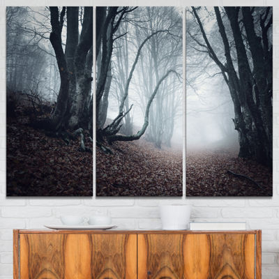 Designart Mysterious Fairytale Foggy Wood Landscape Photography Canvas Print - 3 Panels