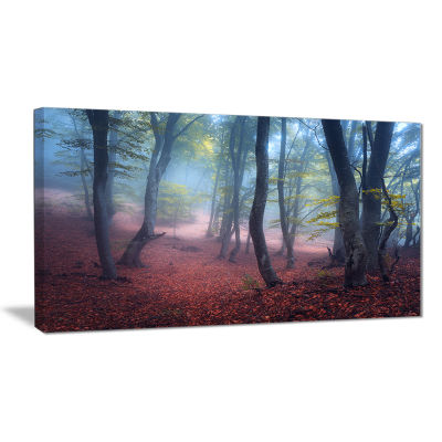 Designart Mysterious Fairytale Green Wood Landscape Photography Canvas Print