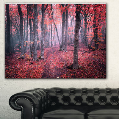 Designart Mysterious Fairytale Red Wood LandscapePhotography Canvas Print - 3 Panels