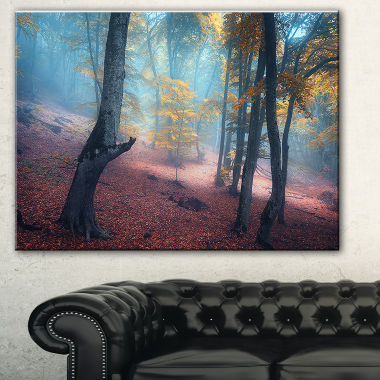 Designart Mysterious Fairytale Yellow Wood Landscape Photography Canvas Print