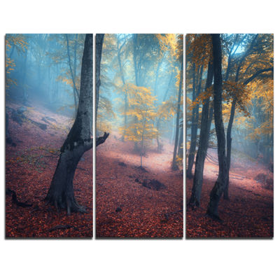 Designart Mysterious Fairytale Yellow Wood Landscape Photography Canvas Print - 3 Panels