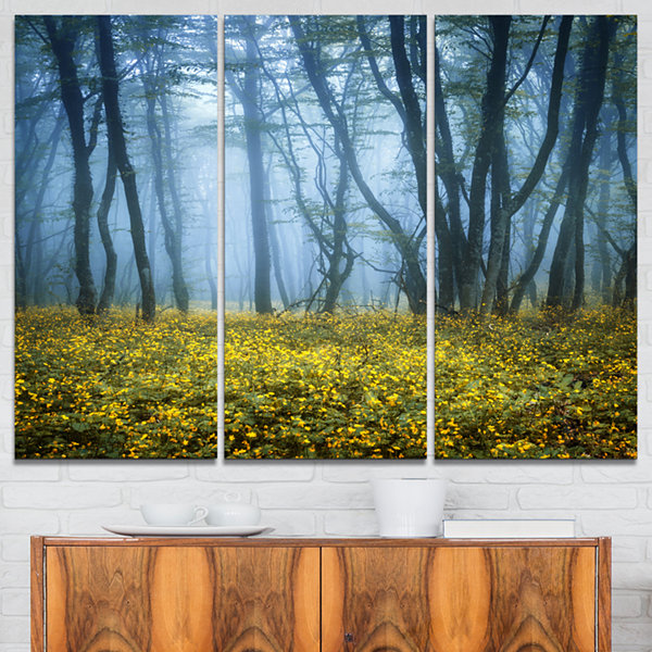 Designart Mysterious Forest Fog Everywhere Landscape Photography Canvas Print - 3 Panels