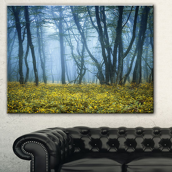 Designart Mysterious Forest Fog Everywhere Landscape Photography Canvas Print 3 Panels