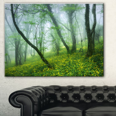 Designart Mysterious Forest Green Leaves LandscapePhotography Canvas Print