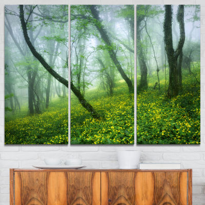 Designart Mysterious Forest Green Leaves LandscapePhotography Canvas Print - 3 Panels