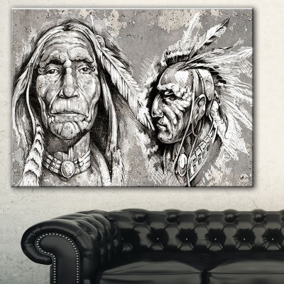 Designart Native American Indian Heads Abstract Portrait Canvas Print - 3 Panels