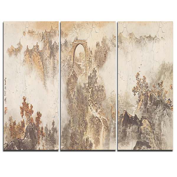 Designart Nature In Vintage Style Landscape Photography Canvas Print - 3 Panels