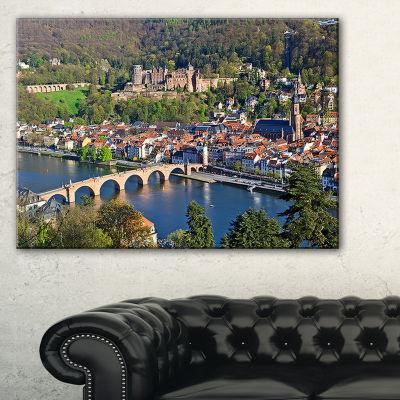 Designart Neckar River And Heidelberg Cityscape Photo Canvas Art Print - 3 Panels