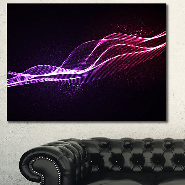 Designart Neon 3D Digital Wave Abstract Canvas ArtPrint