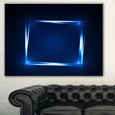 Designart Neon Shape Blue Abstract Canvas Art Print