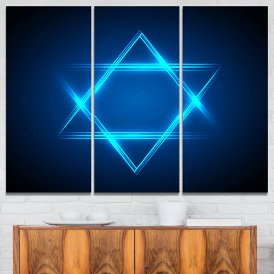 Designart Neon Star Of David Abstract Canvas Art Print - 3 Panels