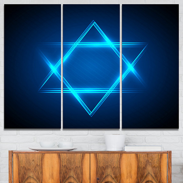 Designart Neon Star Of David Abstract Canvas ArtPrint - 3 Panels