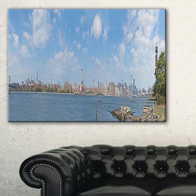 Designart New York Skyline From East River Side Cityscape Canvas Print - 3 Panels