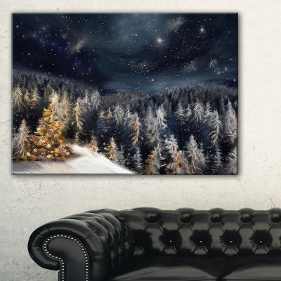 Designart Night Forest Christmas Tree Landscape Canvas Art Print
