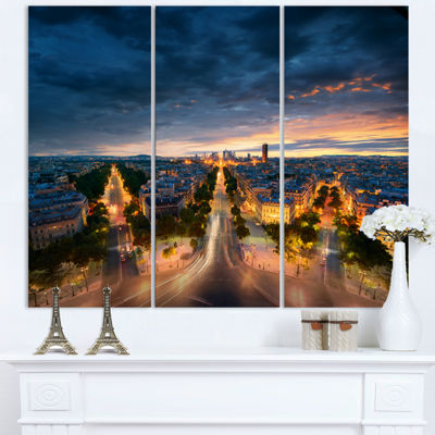 Designart Night Paris Amazing View Skyline Photography Canvas Art - 3 Panels
