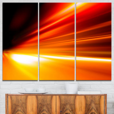 Designart Night Road Traffic Trail Abstract CanvasArt Print - 3 Panels