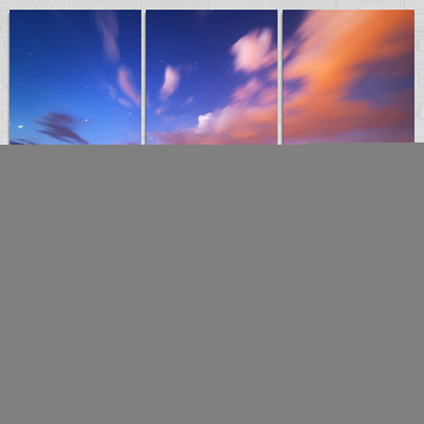 Designart Night Sky Over River With Clouds Contemporary Canvas Art Print - 3 Panels
