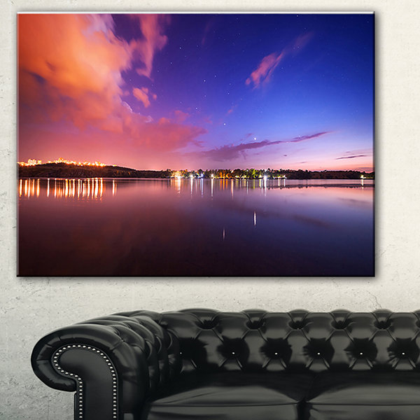 Designart Night Sky Reflection In River LandscapePhotography Canvas Print - 3 Panels