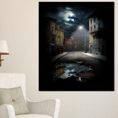 Designart Night Street Collage Landscape Canvas Art Print - 3 Panels
