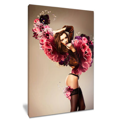 Designart Nude Woman With Pink Flowers Portrait Canvas Art Print