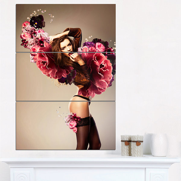Designart Nude Woman With Pink Flowers Portrait Canvas Art Print - 3 Panels