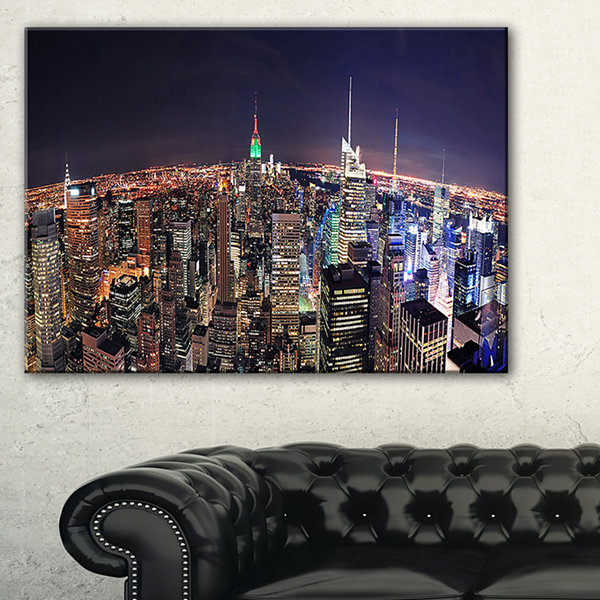 Designart Nyc Manhattan Aerial View Cityscape Photo Canvas Print - 3 Panels