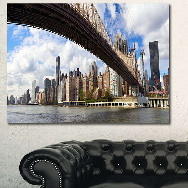 Designart Nyc Queensboro Bridge Panorama CityscapePhoto Canvas Print - 3 Panels