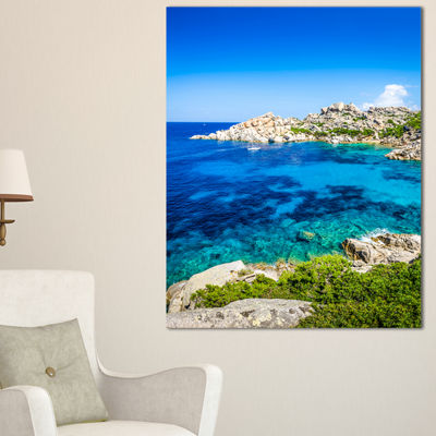 Designart Ocean Bay With Turquoise Water SeascapeCanvas Art Print - 3 Panels
