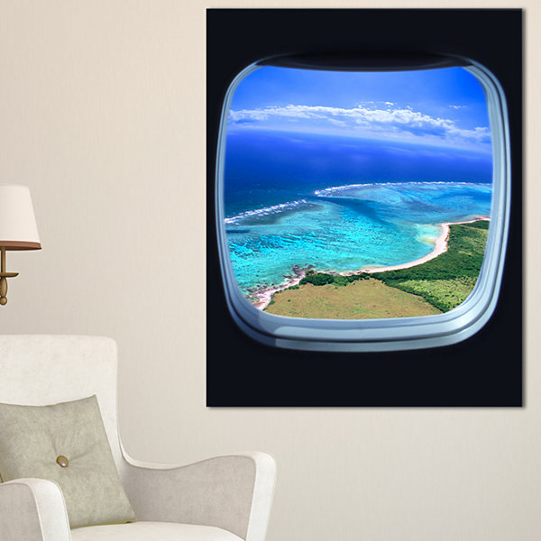 Designart Ocean View From Window Seascape Photography Canvas Art Print - 3 Panels