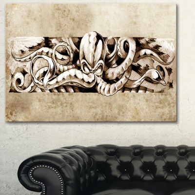 Designart Octopus Sketch In White Shade Animal Canvas Art Print - 3 Panels