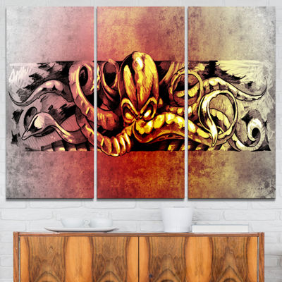 Designart Octopus Sketch In Yellow Shade Animal Canvas Art Print - 3 Panels