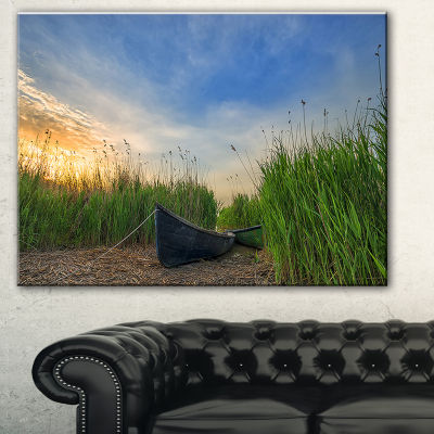 Designart Old Fisher Boat Near Lake Landscape Photography Canvas Print