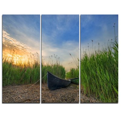 Designart Old Fisher Boat Near Lake Landscape Photography Canvas Print - 3 Panels