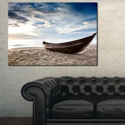 Designart Old Fisherman Boat Seashore PhotographyCanvas Art Print - 3 Panels