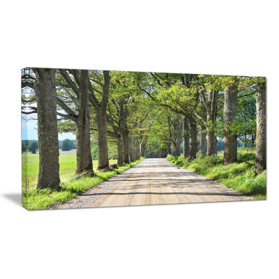 Designart Old Road Through Alley Landscape Photography Canvas Art Print