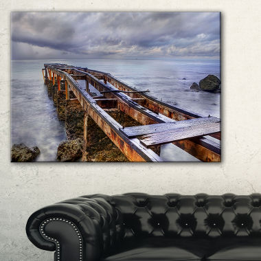 Designart Old Rusty Pier In Cloudy Day Seashore Photo Canvas Art Print