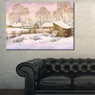 Design Art Old Winter Village Landscape WatercolorCanvas Art Print