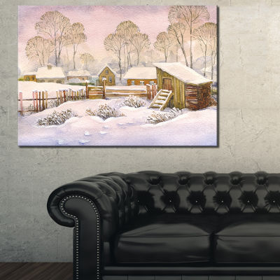 Designart Old Winter Village Landscape WatercolorCanvas Art Print - 3 Panels