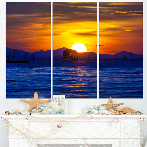 Designart Old Wooden Pavilion In Sea Seascape Canvas Art Print - 3 Panels
