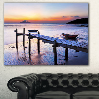 Designart Old Wooden Pier At Sunset Seascape Canvas Art Print