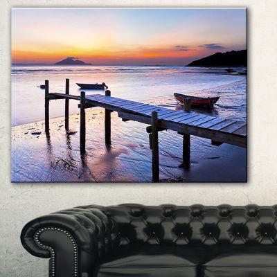 Designart Old Wooden Pier At Sunset Seascape Canvas Art Print - 3 Panels