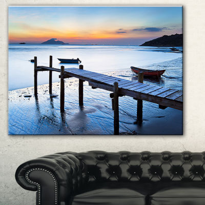 Designart Old Wooden Pier In Bright Sea Seascape Canvas Art Print