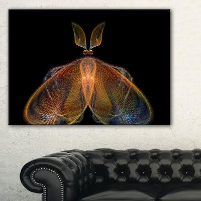 Designart Orange Fractal Butterfly In Dark Abstract Canvas Art Print - 3 Panels