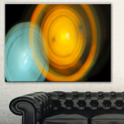 Designart Orange Fractal Desktop Abstract CanvasArt Print - 3 Panels