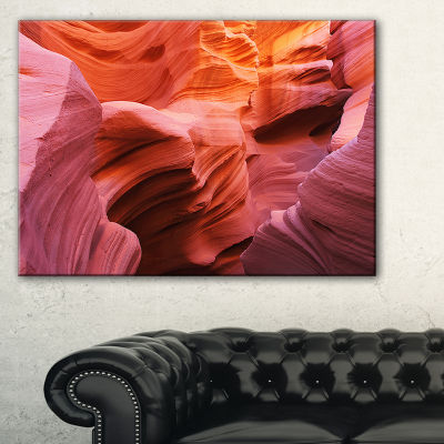 Designart Orange Red Antelope Canyon Landscape Photography Canvas Print - 3 Panels