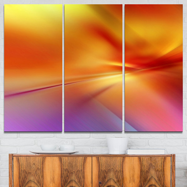 Designart Orange Red Art Abstract Canvas Art Print- 3 Panels